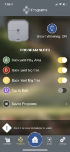 iPhone irrigation app screenshot